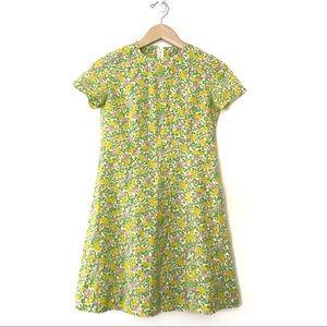 Vintage • 1960s Neon Floral Twiggy Shift Dress